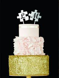 Rustic Wedding Cake Topper Lovely Letter L Puzzle Toppers Gold