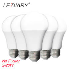 lediary 5pcs high brightness led bulb no flicker a60 e27 220 240v