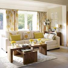 Yellow Gray Living Room And Floral Drapes Ivory Sectional Sofa Wood Tables Rug