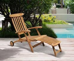 teak steamer chair with free cushion wheels brass fittings