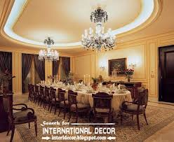Luxury Gypsum Ceiling Designs For Large Dining Room With Crystal Chandeliers And Backlight