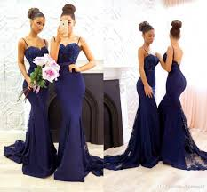 navy blue simple 2017 bridesmaid dresses sweetheart lace