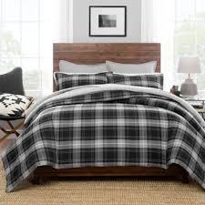 PendletonR Wrangell Plaid Reversible Full Queen Comforter Set In Grey
