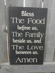 Bless The Food Before Us Sign Rustic Country Kitchen Hand Painted Typography Word Dining Room Decor