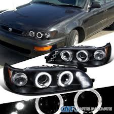 for 93 97 toyota corolla replacement black dual halo led projector