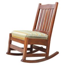 signed gustav stickley arts and crafts armless rocking chair with