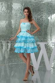 cute strapless sweetheart blue party homecoming dresses