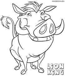 Lion King Simba Coloring Sheet Pumbaa