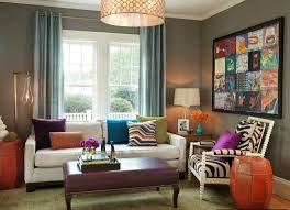 Living Room Curtain Ideas 2014 by Grey Living Room With Blue Curtain And Colorful Wall Art Ideas
