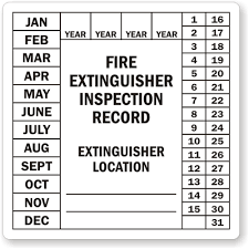 Fire Extinguisher Inspection Label Record L 0398 XV Learn More