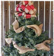 10 Inch Red Ribbon And Burlap Christmas Tree Topper With Garland