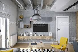 industriedesignwohnzimmer zu rendern mit modernen möbeln und gelbe details stockfoto und mehr bilder architektur