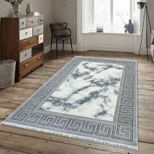 fez teppich grau weiß orientalisch design muster kurzflor