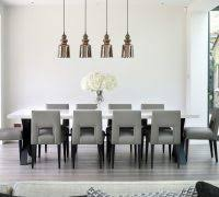 Modern Dining Room Curtain Ideas Contemporary With Long Table Grey Kitchen Large