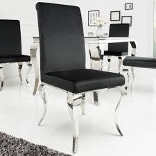 edler stuhl modern barock schwarz samt edelstahl