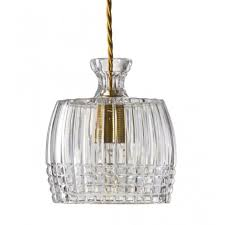 Cut Lead Crystal Decanter Ceiling Pendant Great Over Table Lighting