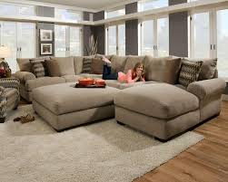 living room comfortable brown sectional sofa with ethan allen