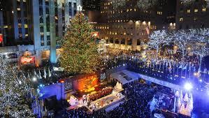 the rockefeller center tree lights up cbs news