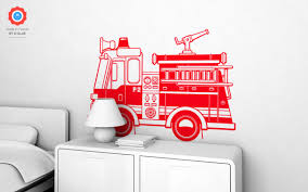 100 Fire Truck Wall Decals XL Decal Nursery Kids Rooms Boy Room