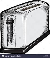Isolated Drawing Of A 2 Slice Toaster Over White Background
