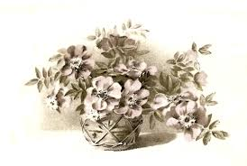 Free Flower Clip Art Vintage Rustic Basket Illustration