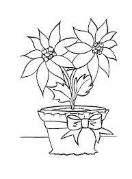 Red Color The Flower Poinsettia With Pot And Tape Coloring Page