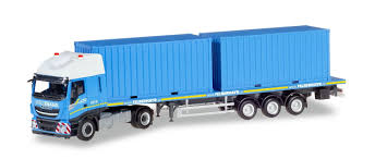 100 20 Ft Truck 310093 Herpa Iveco Stralis XP FlachbettSattelzug Mit 2x Ft