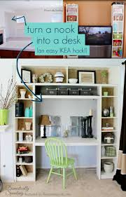 use ikea bookshelves to turn a nook or closet into a built in desk