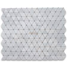 carrara white 2 3 4 inch triangle mosaic tile w gray dots