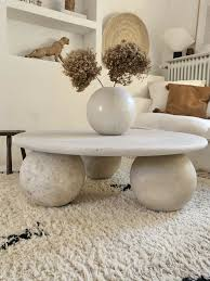 vintage travertin modern design tisch couchtisch rund kugel