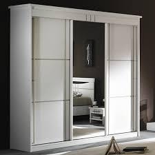 promotion armoire chambre armoire 3 portes miroir coulissantes mareva blanc
