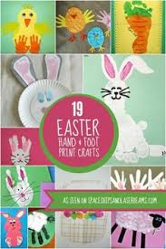 Easter canvas toddler hand and foot print art chicks bunnies and