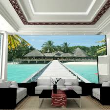 Background Wallpaper Mural Tv Wall Painting Waterproof Wallpapers 3d Maldives Scenery