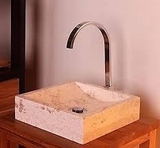 wohnfreuden marmor aufsatz waschbecken perahu 30 cm creme