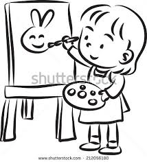 Collection Of Kids Painting High Paint Clipart Black And White