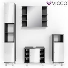 vicco badmöbel set fynn anthrazit weiß badezimmer spiegel waschtisch kommode unterschrank badschrank badspiegel