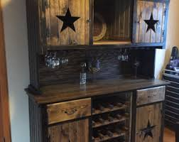 Primitive Hutch W Wine Racks