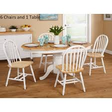 Amazon.com - Simple Living Farmhouse 7-piece White/ Natural Dining ... Coaster Jamestown Rustic Live Edge Ding Table Muses 5piece Round Set With Slipcover Parsons Chairs By Progressive Fniture At Lindys Company Tips To Mix And Match Room Successfully Kitchen Home W 4 Ladder Back Side Universal Belfort Bradleys Etc Utah Mattrses Fine Parkins Parson Chair In Amber Of 2 Burnham Bench Scott Living Value City John Thomas Thomasville Nc Hillsdale 4670dtbwc4 Coleman Golden Brown