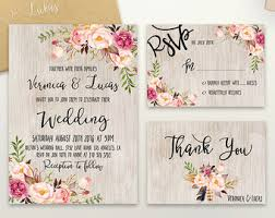 Floral Wedding Invitation Printable Rustic Suite Boho Chic Invite Spring Set