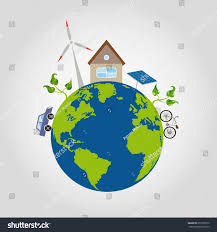 100 House Earth On Green Planet Blue Oceans Stock Vector Royalty Free
