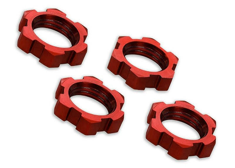 Traxxas 7758r RC Vehicle Serrated Red Anodized 4 Xmaxx Wheel Nuts - 17mm