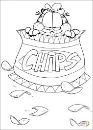 Click The Chips Garfield Coloring Pages