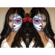 Halloween Half Mask Makeup by Dia De Los Muertos Day Of The Dead Mexican Sugar Skull