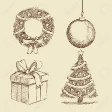 Gift Present Sphere Crown Pine Tree Merry Christmas Decoration Celebration Icon Isolated Draw And Sketch