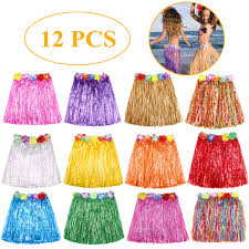 Grass Skirt Hawaiian Luau Hula Skirts Party Decorations Favors Supplies Multicolor Grass Skirts For Kids Elastic Hibiscus Flowers Tropical Hula Skirt