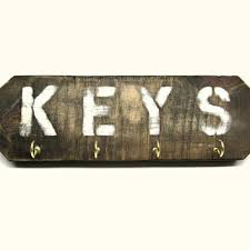 Distressed Wooden Key Rack With Four Brass Hooks
