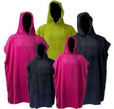 Changing Robe Adults Kids Hooded Poncho Toweling Swimming Surfing Free Towe