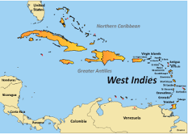 Map Of West Indies Showing Tourist Highlights