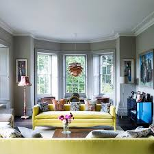 Living Room Interior Design Ideas Uk by Grey Living Room With Yellow Sofas Yellow Sofa Grey Living