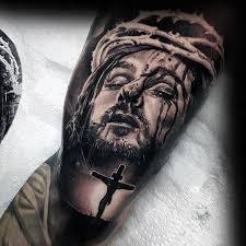 Jesus On The Cross Mens Arm Tattoo Design Ideas